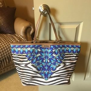 Stella & Dot Capri Jeweled Zebra Tote Bag NWOT